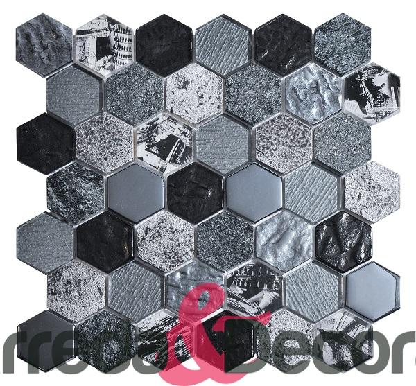 mosaico esagonale grande nero
