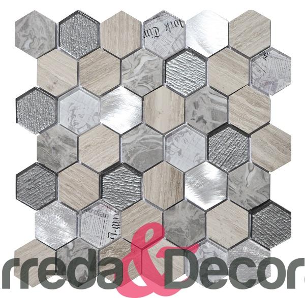 mosaico esagonale grigio chiaro grande