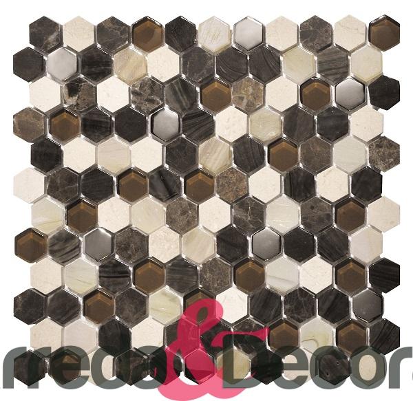 mosaico esagonale marrone mix