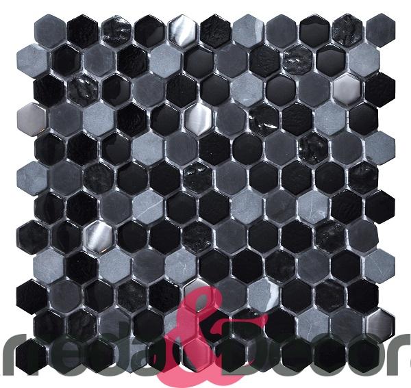mosaico esagonale nero in vetro