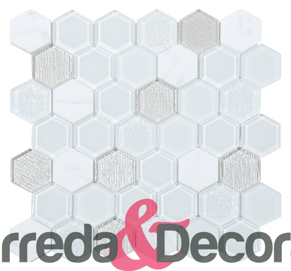 mosaico esagonale white total grande