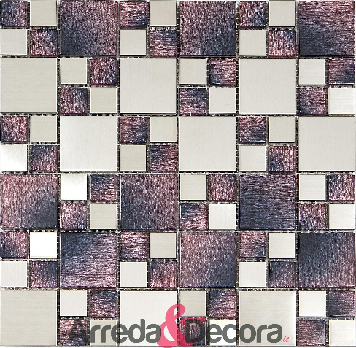 mosaico acciaio e vetro effetto legno