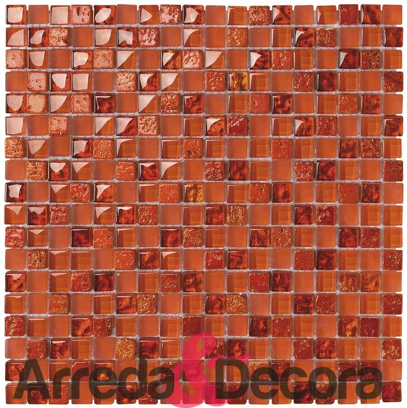 mosaico arancione foglia dorata