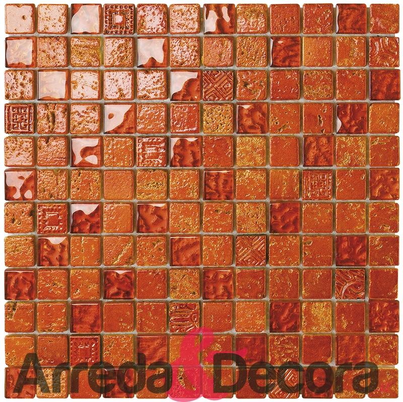 mosaico arancione vetro pietra foglia dorata