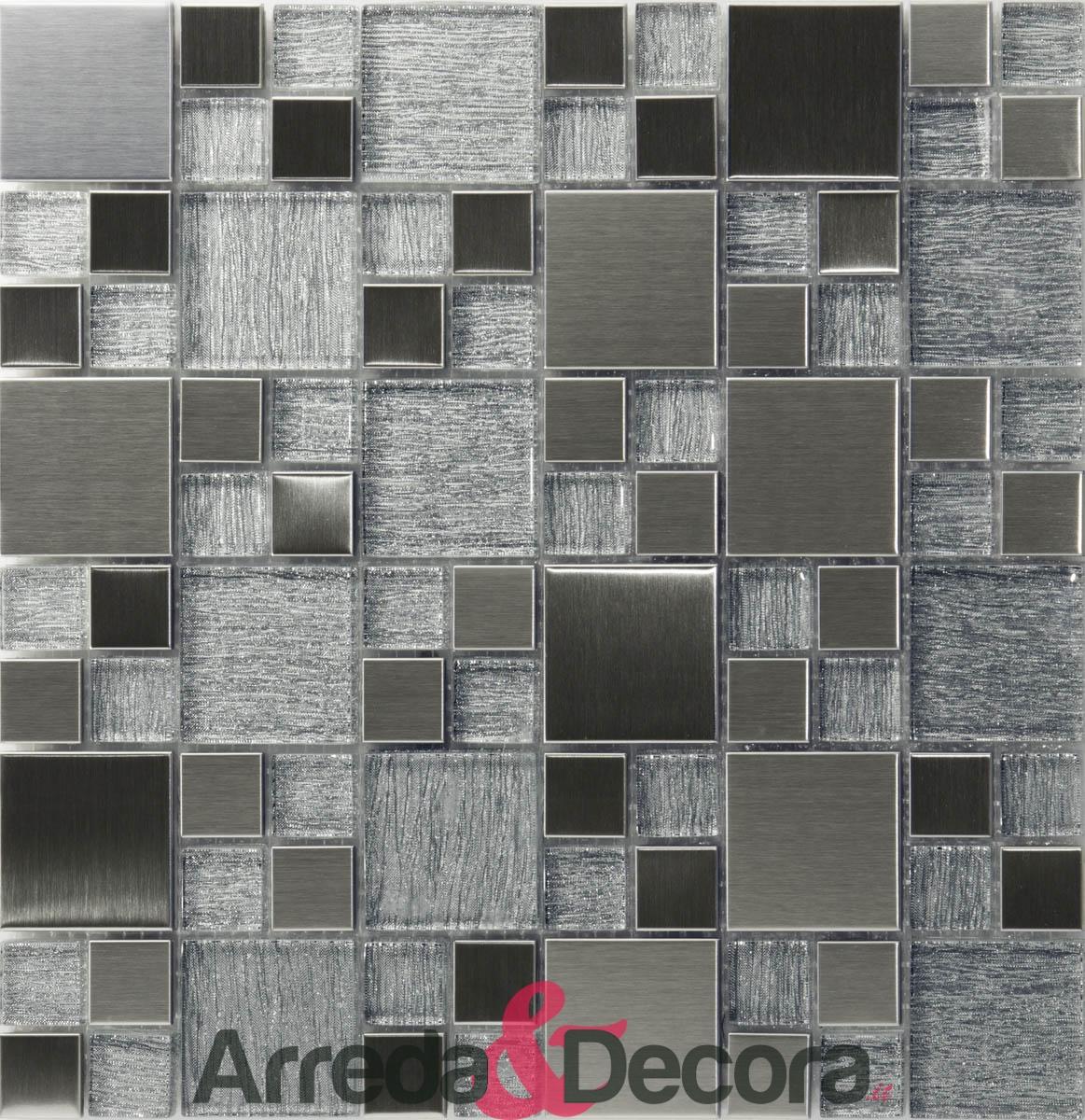 mosaico legno argento