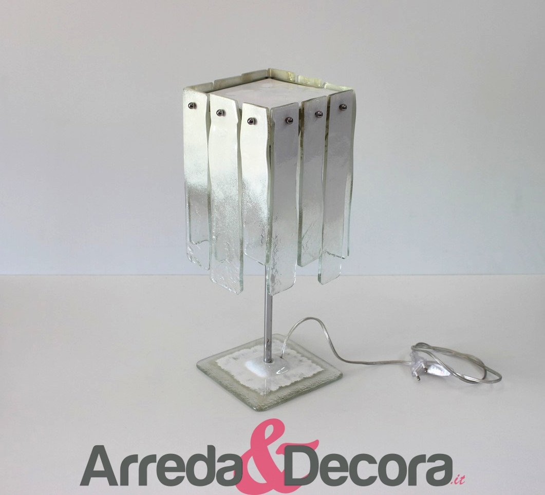 lampada in vetrofusione con pendenti bianca 3