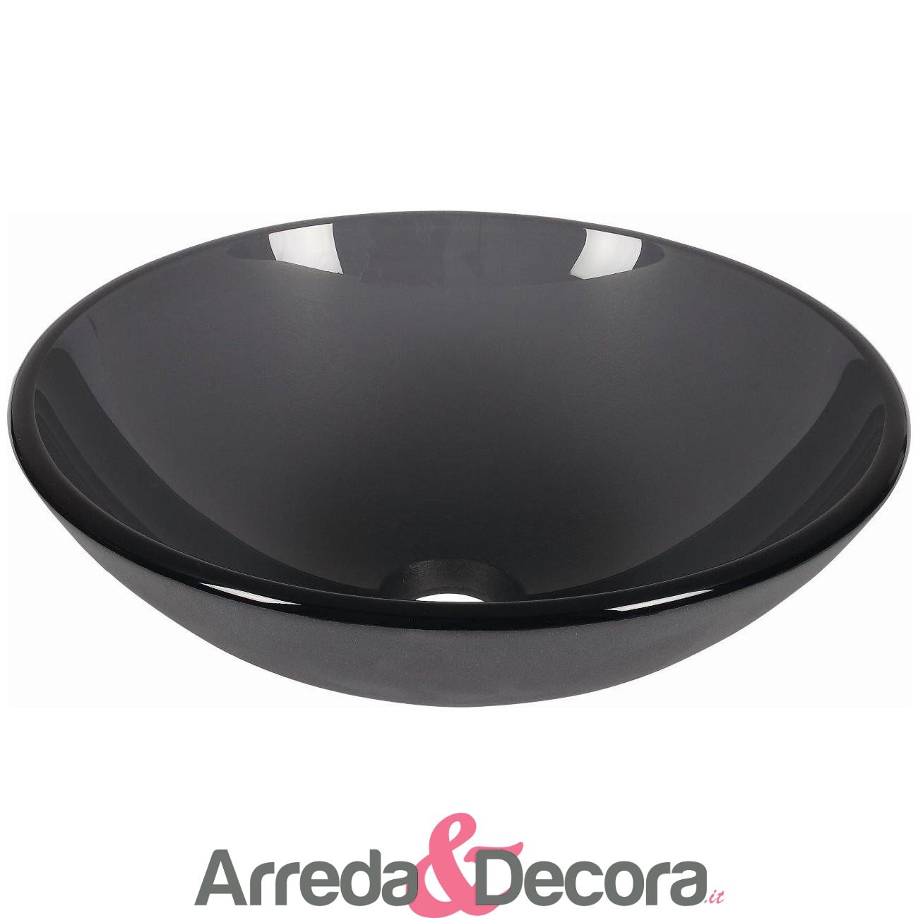 lavabo appoggio nero cristallo