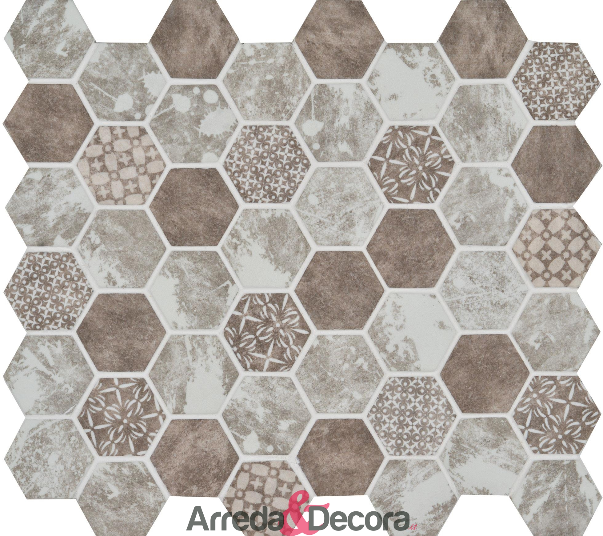 mosaico-vetro-esagonale-marrone